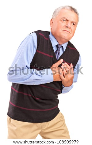 Mature man having a heart attack, isolated on white background