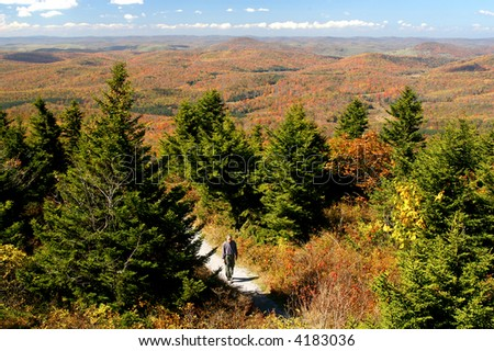 Mature Man Hiking in West Virginia in Autumn with Expansive View
