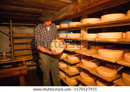 Mature man holding wedge of cheese in Oberstaufen, Allgau, Bavaria, Germany