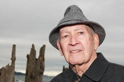 Mature Man in Tweed Rain Hat