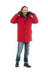 mature man is going to go outside. male winter fashion. seasonal trends for fashionable men. man in red parka isolated on white. wintertime concept. ready for any weather. cold winter climate.