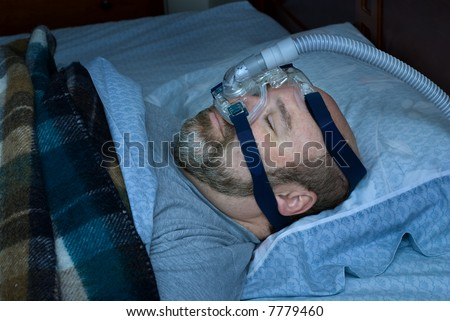 stock photo : mature man (photographer is the model) sleeping on back with ...