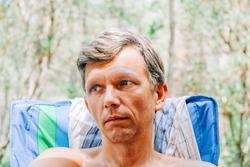 Mature man portrait outdoors - Cap Ferret, Aquitaine, France