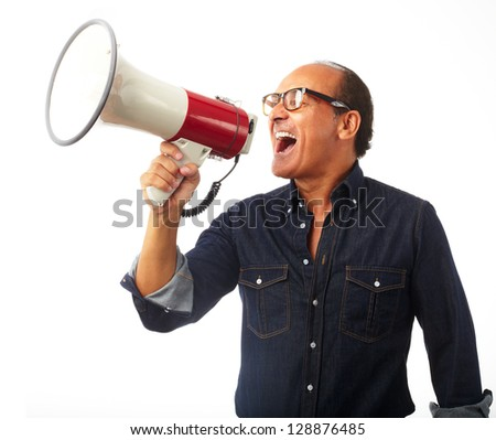Mature Man Shouting In Megaphone Isolated On White Background