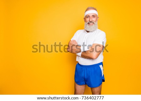 Mature modern cool grey haired macho competetive pensioner grandpa, leader, champion. Bodycare, healthcare, weight loss, pride, strength, leadership, motivation, advertising, happiness lifestyle #736402777