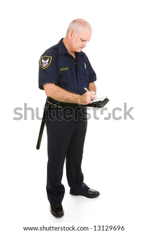 Mature police officer writing a ticket.  Full body isolated on white.