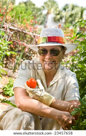 Mature, senior woman in her backyard garden, holding the first tomato of the season. - stock photo