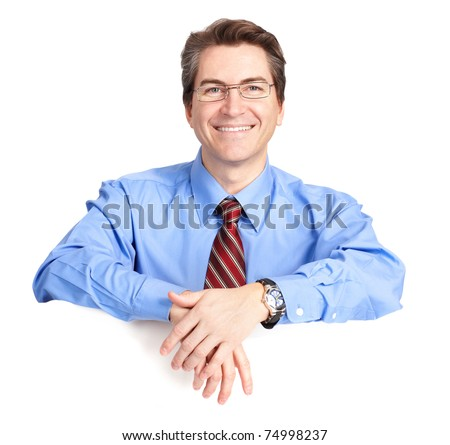 Mature smiling businessman. Isolated over white background