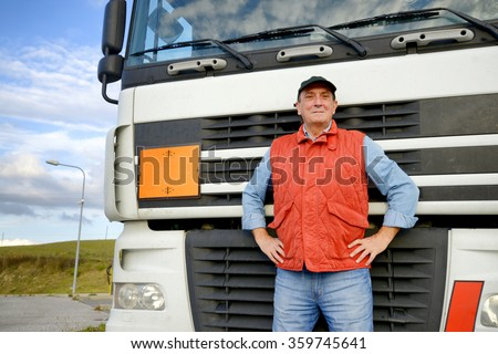 Mature truck driver smiling #359745641