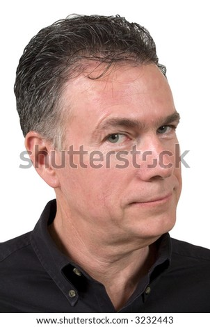 Mature white male with a very cynical expression on his face.
