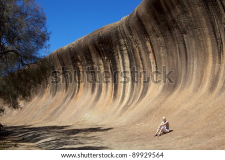 Mature woman at Wave Rock, near Hyden in Western Australia.