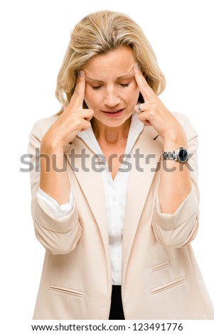 Mature woman has headache isolated on white background