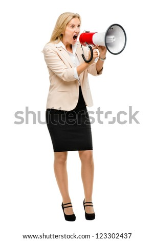 Mature woman holding magaphone shouting isolated on white background
