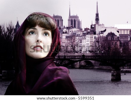 stock photo : Mature woman in burgundy scarf in Paris. Save to a lightbox ▼