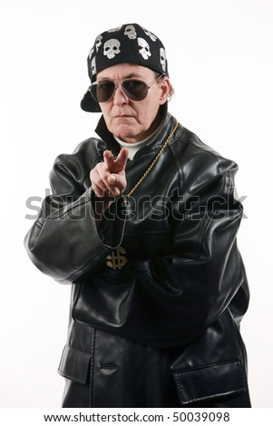 stock photo mature woman in the role of a tough rapper wearing leather sunglasses gold chain and cap 50039098 Chaussure talon haut, fille sexy, chaussure glamour, talon aiguille