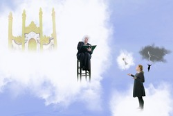 Mature woman justifying her life outside the pearly gates of heaven waiting for for St. Peter to decide her fate with cloud background and copy space.