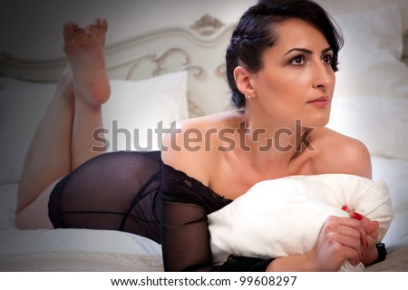 stock photo mature woman portrait in black lingerie 99608297 First page of the Altuna's erotic comic strip O Expresso do Prazer (The ...