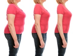 Mature woman's body before and after weightloss on white background. Health care and diet concept.