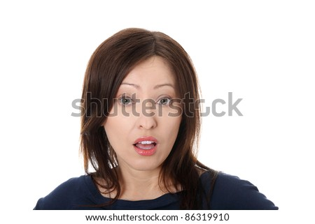 Mature woman shocked over white