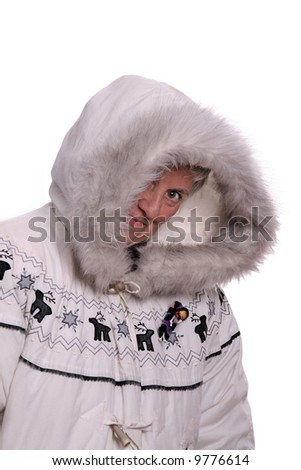 mature woman with winter coat