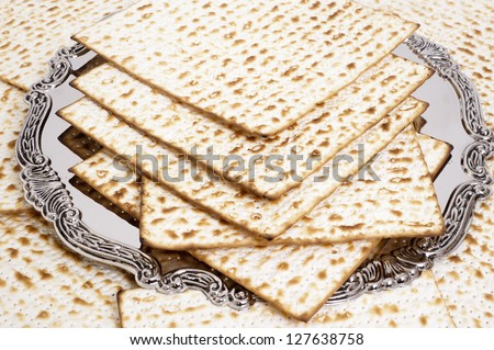 Matza bread for passover celebration on plate