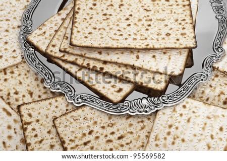 Matza bread for passover celebration on plate