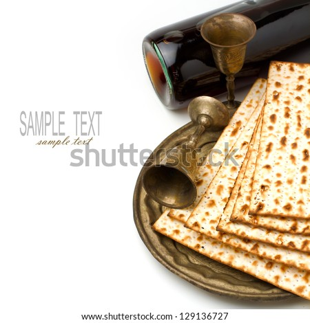 Matzo and wine for passover seder celebration on white background