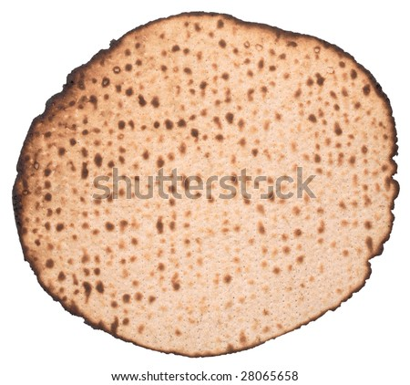 Matzo, Hand made (Matza Shmura), isolated, clipping path