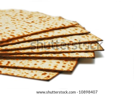 Matzot -symbol of Passover, isolated over white background
