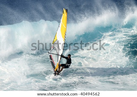 MAUI, HAWAII - NOV. 1: A professional windsurfer competes at the International Ho'okipia Beach Park Expression Session Contest on Nov. 6, 2009 in Maui, Hawaii. The event runs from Nov. 1-16, 2009.
