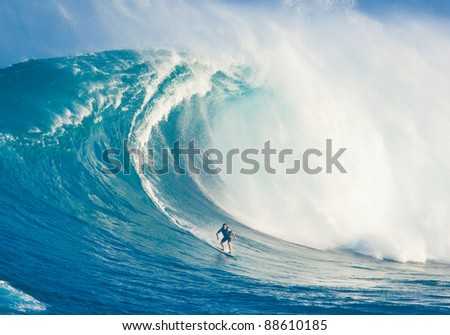 MAUI, HI - MARCH 13: Professional surfer Marcio Freire rides a giant wave at the legendary big wave surf break known as \