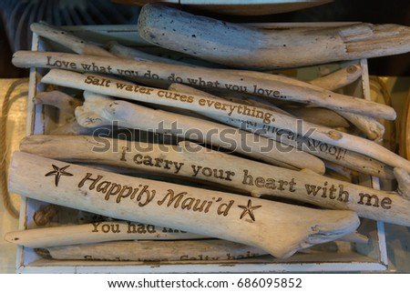 Maui souvenirs. Driftwood pieces with sayings. Hawaii #686095852