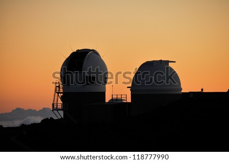 Mauna Kea Astronomical Observatory at sunset, Haleakala National Park (Maui-Hawaii)