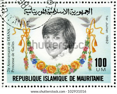 MAURITANIA - CIRCA 1982: A stamp printed in Mauritania shows Diana, 21st Birthday of Princess Diana of Wales, circa 1982