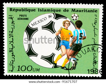 Mauritania - CIRCA 1986: stamp printed by Mauritania, shows World Cup Soccer championship, Mexico, circa 1986.