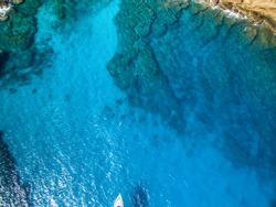 Mauritius beach aerial view of Coin de Mire Island in Bain Boeuf, Grand Baie, boat trip