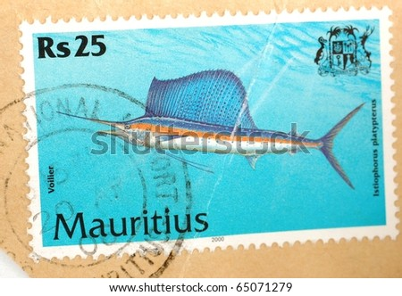 MAURITIUS - CIRCA 2000: A stamp printed in Mauritius shows image of an Indo-Pacific sailfish (Istiophorus platypterus), circa 2000