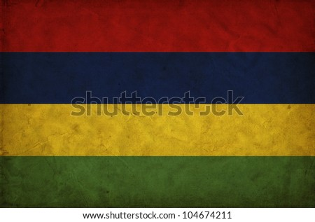Mauritius grunge flag - stock photo