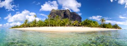 Mauritius Island panorama with Le Morne Brabant mount