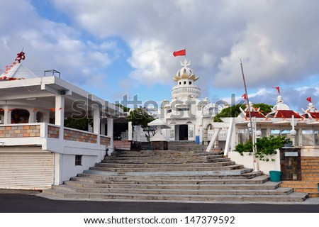 MAURITIUS, POSTE DE FLACQ  - MAY 2: The town centre�¢??s main attraction is Hindu temples shown on May 2, 2013, Mauritius. The temple is the venue for celebrations dedicated to Hindu divinities