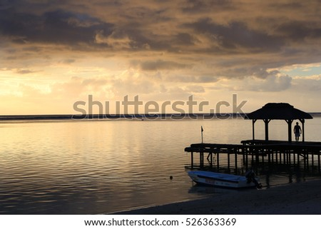 Mauritius, sunset at the west coast at Flic-en-Flac #526363369