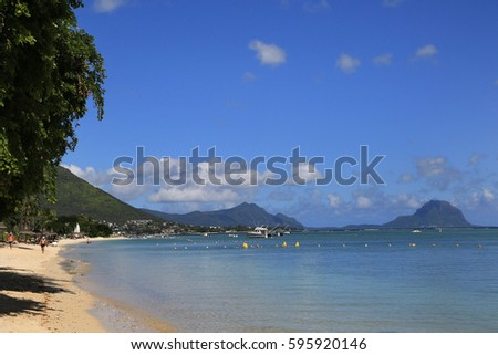 Mauritius, West Coast, looking to Le Morne Brabant #595920146