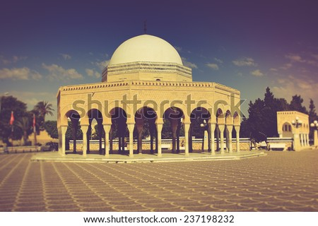 Mausoleum of Habib Bourgiba in Monastir, Tunisia. Filtered image:cross processed vintage effect.