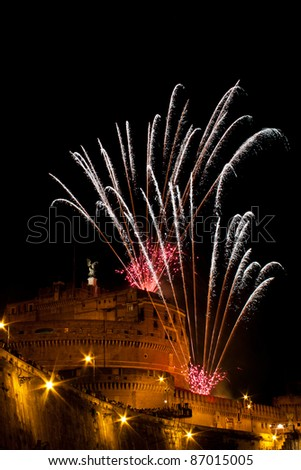 "Mausoleum of Hadrian, usually known as the Castel Sant'Angelo, during ""The Windmill"", with the traditional fireworks show staged on the occasion of the Feast of Saints Peter and Paul on 29 June."