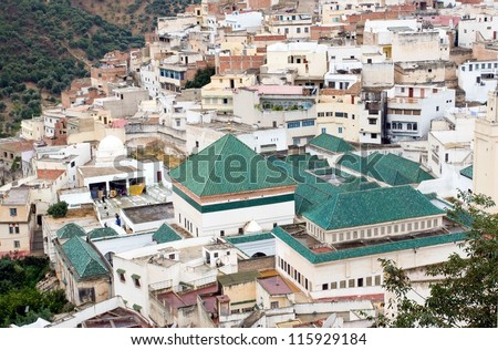 Mausoleum of Idriss I. in Moulay Idriss Town (green roofs) is a sacred destination that is open only to Muslims. Moulay Idriss is a town in northern Morocco.