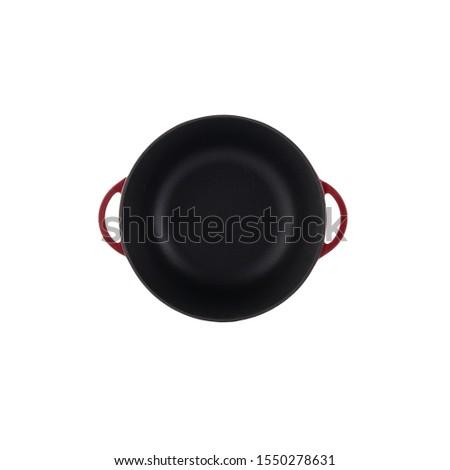 mauve empty iron cast cauldron, cast iron black pot, kettle cookware, isolated on perfect white background, stock photography