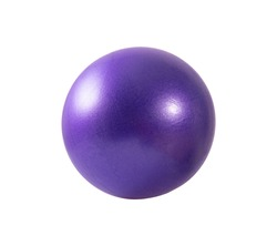 mauve gymnastic massage ball with thorns for fitness, on white background, isolated. Sports equipment concept