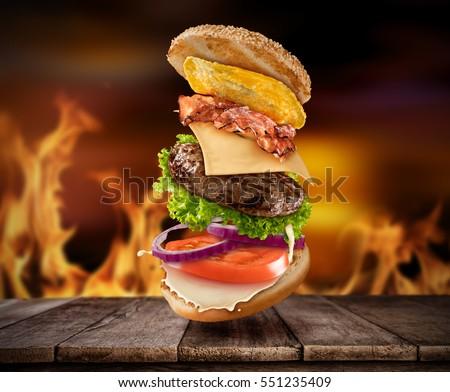 maxi hamburger with flying...