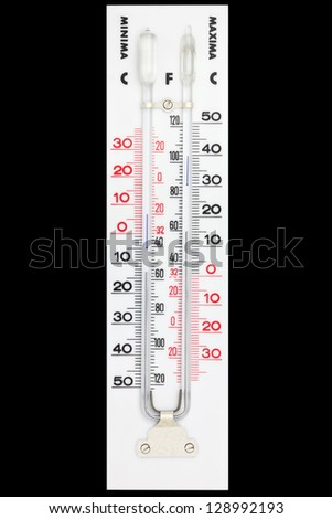 Maxima minima thermometer isolated on black with clipping path