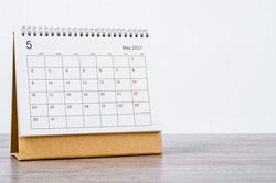 May Calendar 2021 on wooden table background